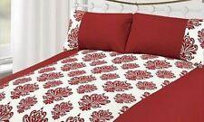 EJ Home Single Duvet Quilt Cover White & Red Velvet Damask Floral Bedding Set