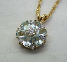 Beautiful Vintage 9ct Gold Blue Topaz and White Stone Set Pendant And Chain