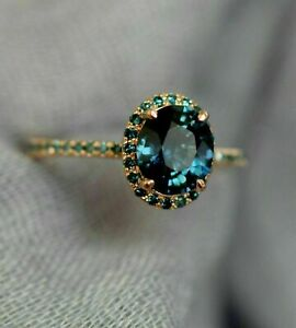 2.00 Ct Oval Cut London Blue Topaz Halo Engagement Ring 14k Rose Gold Over