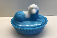 Ca. 1880's Westmoreland Specialty - Blue & White Milk Glass Dog Covered Dish