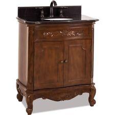 """30"""" Traditional Single Bathroom Vanity Nutmeg Brown + Black Granite Top Sink 32"""""""
