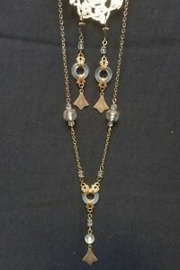 Vintage Victorian Style Necklace Earring Jewelry Set White Glass Donut  Dangle *