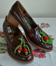 New Miss L Fire Marguerite Cherry Burgundy Loafers Uk 39 Us 8.5-9