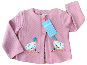 BNWT JoJo Maman Bebe 6-12 months baby NEW duck quilted cardigan pink applique