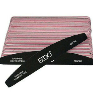 25pcs EZGO 180/100 Grit Buffer Nail Files Sanding Double Sided Manicure