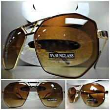 OVERSIZED CLASSIC VINTAGE 70's RETRO Style SUN GLASSES Large Gold & Brown Frame