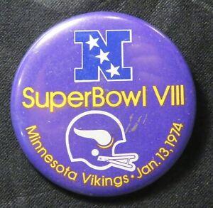 Original 1974 Super Bowl 8 VIII Minnesota Vikings Button Pinback Pin Houston TX
