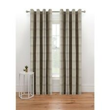 """Eyelet Woven Natural Check Fully Lined Curtains W90"""" x D90"""""""
