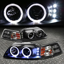 [Led Drl+Halo Ring]For 99-04 Ford Mustang Projector Headlight Head Lamps Black