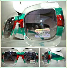 OVERSIZE VINTAGE RETRO Style SUNGLASSES Large Square Transparent Green Red Frame