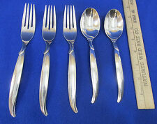 5 Vintage 1847 Rogers Silver Plate Flair Pattern Flatware 3 Forks 2 Tablespoons