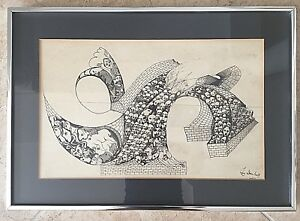 """1982 Pencil and Ink Framed and Signed Faces 14 1/4"""" x 20 1/4"""""""