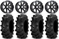 "MSA Black Diesel 14"" ATV Wheels 28"" Cryptid Tires Can-Am Renegade Outlander"