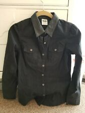 WOMENS HARLY DAVIDSON BLACK BUTTON UP SHIRT SIZE SMALL LEATHER COLLAR