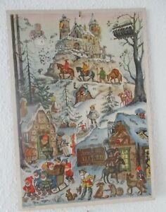 Wunderschöner alter Adventskalender  mit Glitzer aus den 50er Jahren signiert.