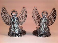 Angel Tea Light Holder Pewter with Clear Jewels, Pair