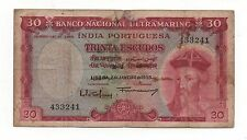 INDIA PORTUGUESE PORTUGAL 30 ESCUDOS 1959 PICK 41 LOOK SCANS