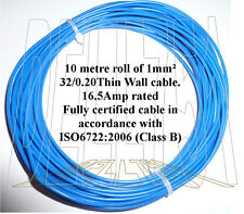 1mm sq. bleu auto câble 16.5AMP 10mtr pack