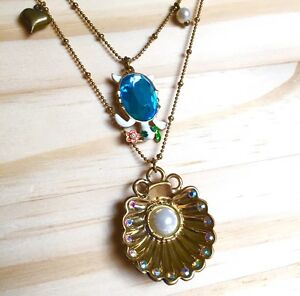 NWT Betsey Johnson Nautical Sea Turtle Pearl Gold Shell Ocean Necklace