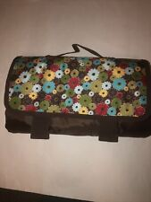 Thirty-One Picnic Blanket Fold Up Handle Take Along Floral Red Brown