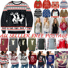 Womens Mens Sweater Ugly Christmas Xmas Sweatshirt Tops Pullover Festive Blouse