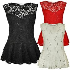 New Womens Plus Size Floral Lace Sequins Waist Frill Peplum Tops 16-26