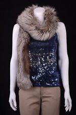 "VTG Genuine Silver Fox Fur Stole Muff Collar Boa Scarf Wrap Muffler 66"" Long"