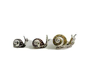 Set Of Three Beautiful 20 Century Original Sterling Silver Enameled Snails