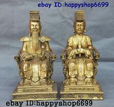 "13"" China Folk Taoism Brass Dragon Phoenix Robe Jade Emperor Wang mu Statue Pair"