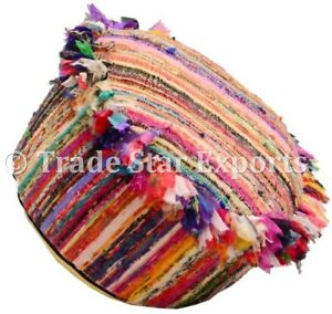 Ethnic Rag Rug Pouf Cover Handmade Colorful Floor Seating Case Round Pouffe Case