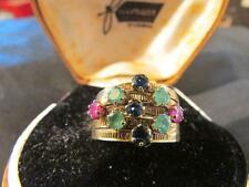 Beautiful Vintage Rare18ct Gold, Sapphire, Ruby & Emerald Multiple Stacking Ring