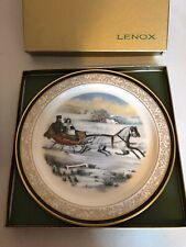 """Lenox Plate Currier & Ives """"The Road, Winter"""" in Box 1985 Christmas Issue"""