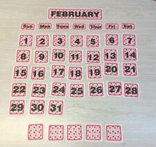 Pink Polkadots - February - 31 Laminated Calendar Squares + Blanks