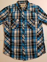 Rustic Blue Men's M Short Sleeve Button Down Plaid Shirt Black, Blue, White