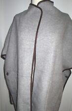 Zara  Gray Color Brown Trim  Cape Coat Jacket  Size M