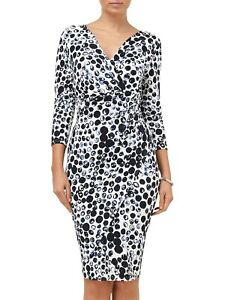 Phase Eight Abellona Blue White Spotted Jersey Faux Wrap Dress UK 16 EU 44 US 12