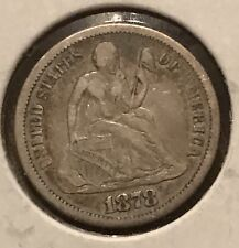 1878-cc  seated dime VF / fine