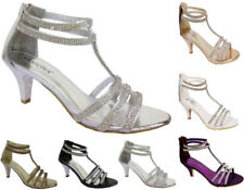 WOMENS DIAMANTE MID LOW HEEL STRAPPY ANKLE STRAP EVENING PROM SHOES SIZES 3-8
