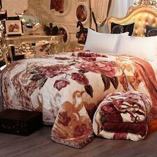blanket raschel mink super soft super warm 2ply cream/peach with floral pattern