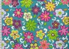 Stoff Baumwolle beschichtet Leona Petrol bunte Blumen 150cm