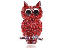 Charming Red Big Eye  Rhinestone Ruby Red Devil Owl Perch Bird Adjustable Ring