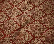 Chenille upholstery Damask Ruby Gold Print Cleopatra  furniture fabric sold BTY