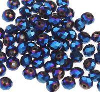 25 TSCHECHISCHE KRISTALL PERLEN GLAS RONDELLE 4mm Fire-Polished Blau BEST X47