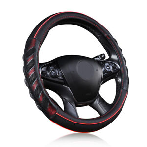 """Car Steering Wheel Cover Leather Universal 14.5-15"""" Auto Accessories Red Black"""