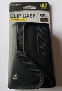 BRAND NEW Black Nite Ize Clip Case Sideways Rugged Nylon Phone Holster - LARGE