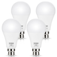4 X 23W B22 LED Bulbs, Techgomade A65 Bulbs, 200W Equivalent, 2500LM, Super Warm
