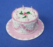 Miniature Dollhouse Pink Birthday Cake 1:12 Scale New