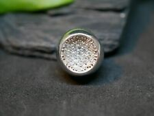 925 Silber Anhänger Zirkonia Glitzer Teil Kugel Oberfläche Konkav Für Collier