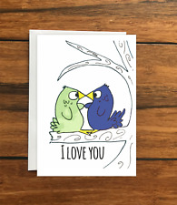 I love you birds greeting card A6
