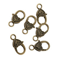 6pcs Retro Heart Lobster Claw Clasp for Jewelry Making Finding Bronze Hook